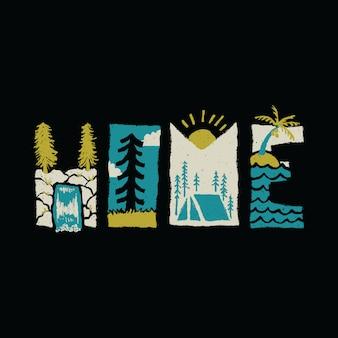 Inicio tipografía ilustración gráfica arte vectorial diseño de camiseta