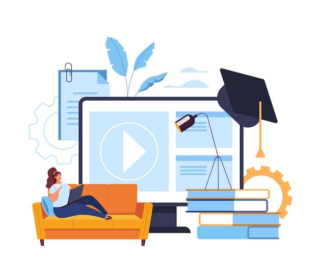 Inicio web aprendizaje en línea tutorial clase concepto de educación