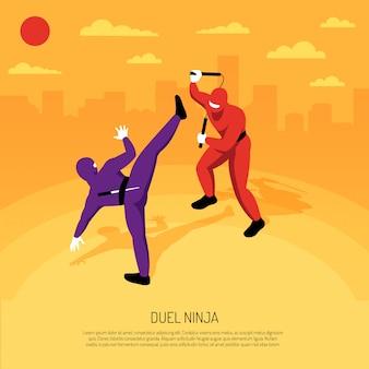 Inmejorable duelo de guerreros ninja con el juego de acción de personajes stickman, composición isométrica ilustración de vector de paisaje urbano