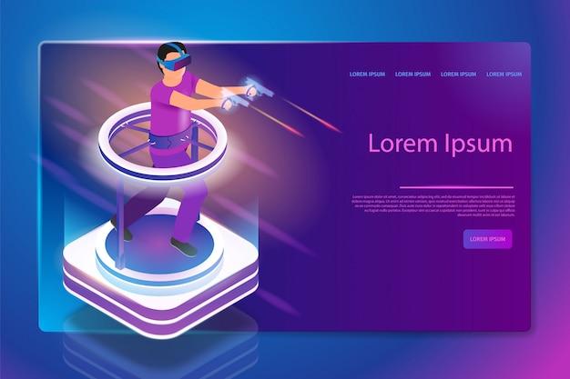Inmersión completa en 3d gaming vector web banner