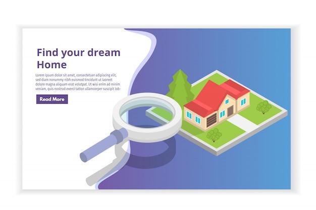 Inmobiliaria casa en un mapa de búsqueda concepto isométrico. ilustración