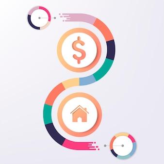 Inmobiliaria colorida infografía vector gratuito