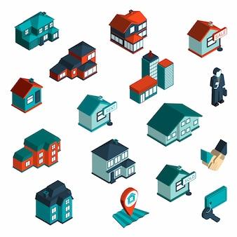 Inmobiliaria icono isométrica