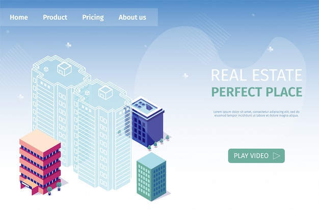 Inmobiliaria perfect place vector illustration