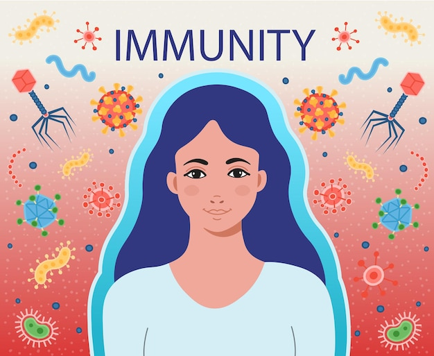 La inmunidad de la mujer combate los virus y las bacterias. bacterias infecciosas y virus pandémicos. coronavirus