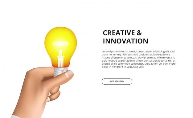Innovación creativa de la mano que sostiene la bombilla 3d que brilla intensamente amarilla