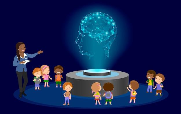 Innovación educación escolar jardín de infantes. holograma en el futuro centro del museo.