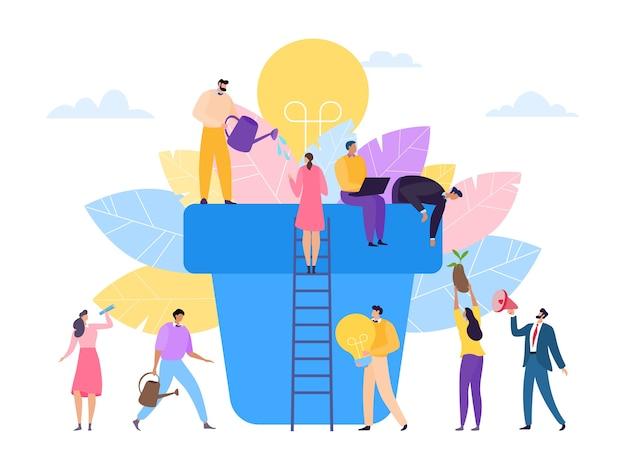 Innovación empresarial trabajo en equipo crecimiento plano en concepto de fondo