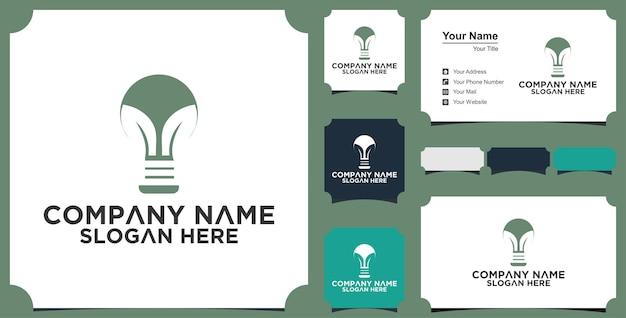 Innovación idea hoja crecimiento logo bombilla verde diseño creativo y tarjeta de visita