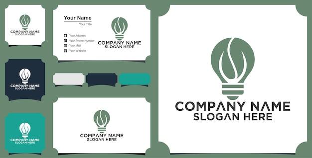 Innovación idea hoja crecimiento logotipo bombilla verde plantilla de diseño creativo premium vector premium
