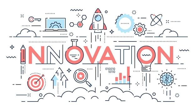 Innovación, nuevas ideas, creatividad y tecnología delgada línea conce