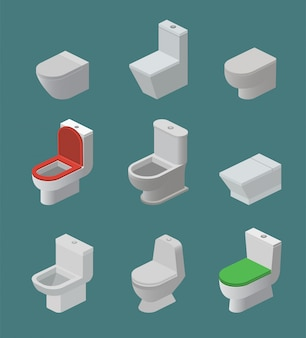 Inodoro y asiento vector iconos isométricos artículos de tocador y baño de cerámica equipo de cerámica