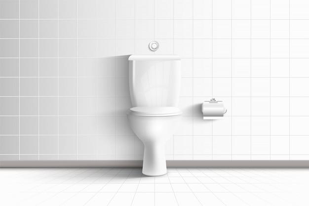 Inodoro realista y arquitectura moderna de la sala de descanso interior y diseño decorativo., asiento de higiene del wc en baldosas de cerámica