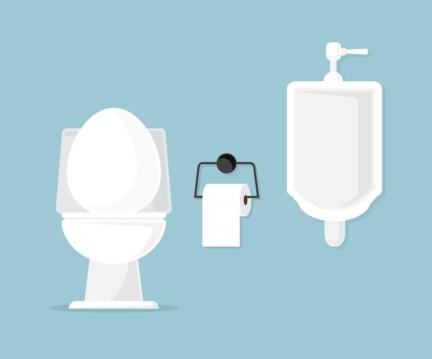 Inodoro y urinario en la ilustración de vector de baño