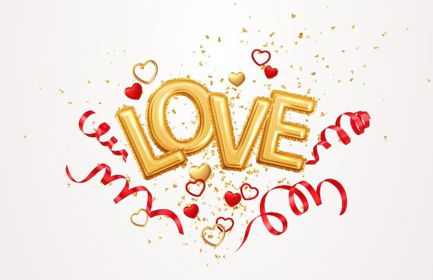 Inscripción amor globos de helio sobre un fondo de confeti dorado y cintas de serpentina remolinos rojas