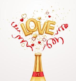 Inscripción amor globos de helio sobre un fondo de confeti dorado y serpentina roja remolino