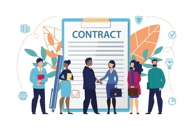 Inscripción de banner en documento contrato plano.