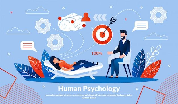 Inscripción de banner informativo psicología humana.