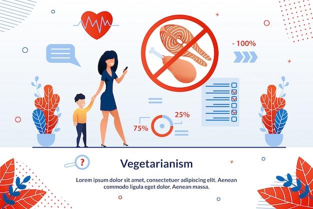 Inscripción de banner informativo vegetarianismo.