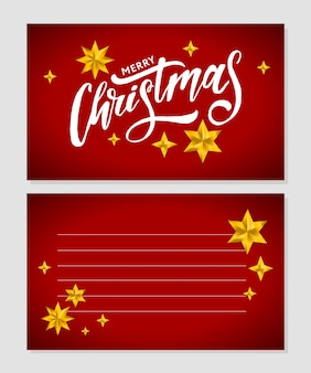 Inscripción caligráfica de feliz navidad decorada con estrellas doradas y cuentas