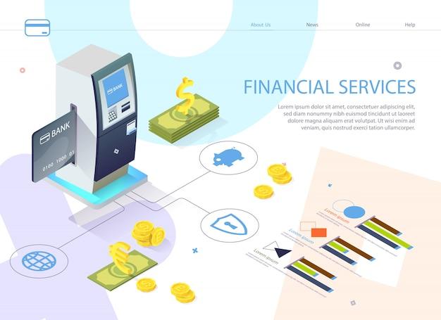 Inscripción cartel servicio financiero isométrico.