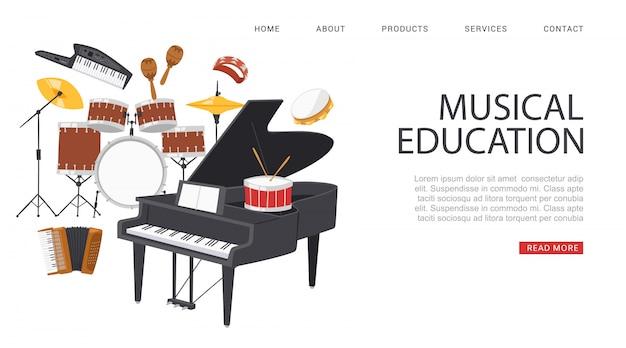 Inscripción educación musical, banner publicitario, sitio web de información de referencia, portal para músicos, ilustración de dibujos animados.