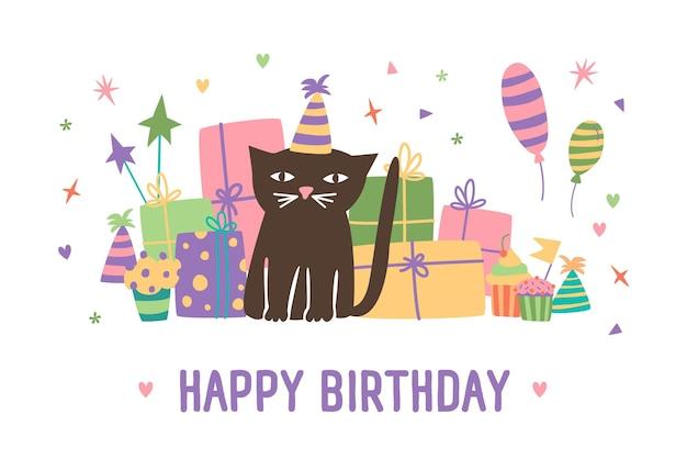 Inscripción de feliz cumpleaños y adorable gato de dibujos animados con sombrero de cono sentado contra cajas presentes, globos y confeti en el fondo. ilustración de vector festivo en estilo plano para tarjeta de felicitación.