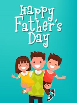 Inscripción feliz día del padre. papá con tarjeta de felicitación para niños