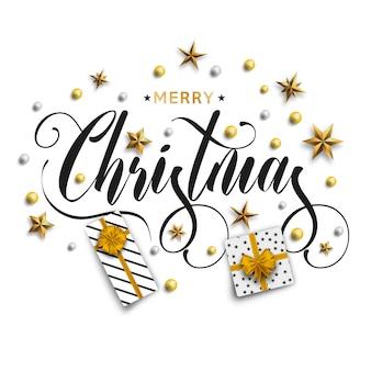Inscripción feliz navidad decorada con estrellas doradas.