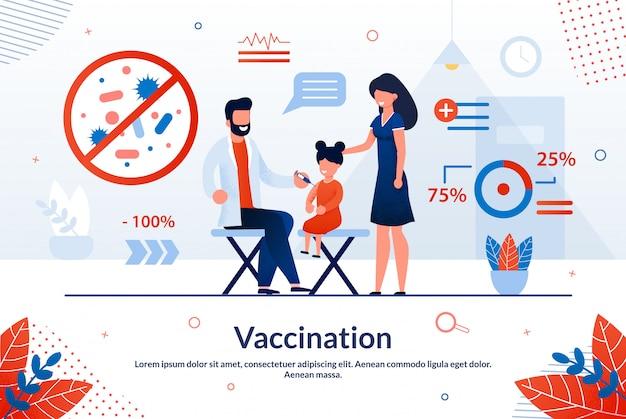 Inscripción de folleto brillante vacunación moda plana.