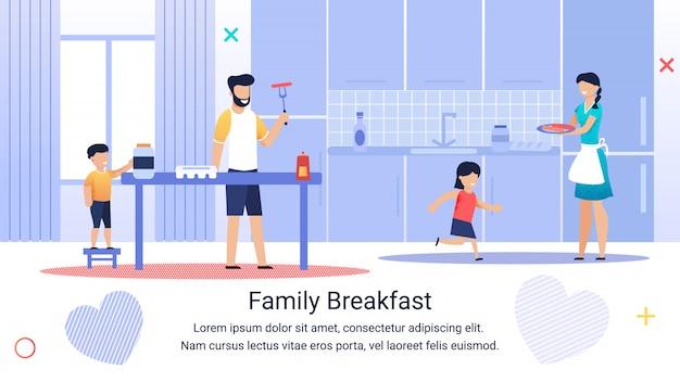 Inscripción informativa en pancarta desayuno familiar.