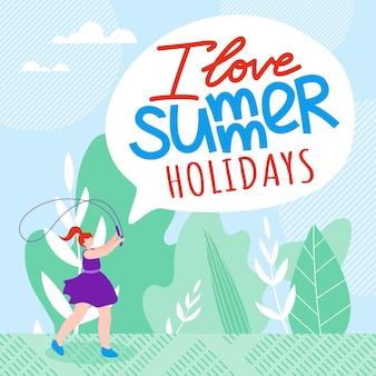 Inscripción me encanta vacaciones de verano de dibujos animados plana.