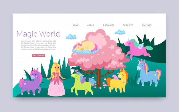 Inscripción mundo mágico, animales fabulosos con alas, fantasía, página web para niños, ilustración de dibujos animados.