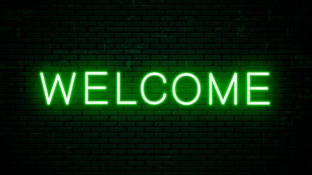 Inscripción de neón de vector bienvenida para letrero