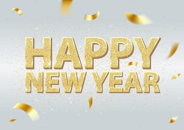 Inscripción de oro feliz año nuevo y caída de confeti dorado