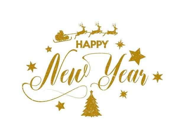 Inscripción de oro feliz año nuevo