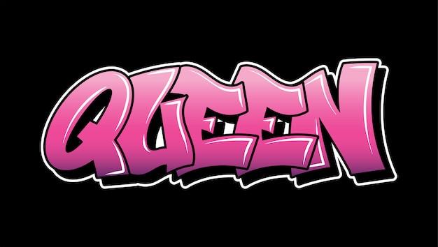 Inscripción rosada queen graffiti letras decorativas vandalismo street art estilo salvaje libre en la acción ilegal urbana de wall city usando pintura en aerosol. ilustración de tipo de hip hop subterráneo.