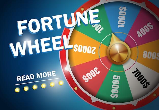 Inscripción de la rueda de fortuna en fondo azul. publicidad de negocios de casino