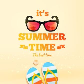 Inscripción tipográfica de horario de verano con gafas de sol, par de chanclas, concha.