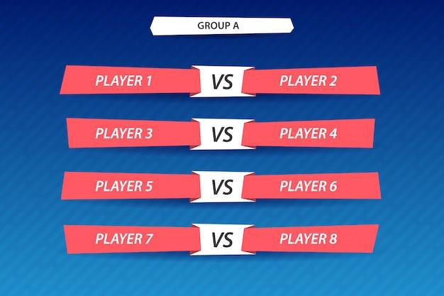 Inscripción del torneo, fase de grupos. marcador para mostrar los resultados del juego.