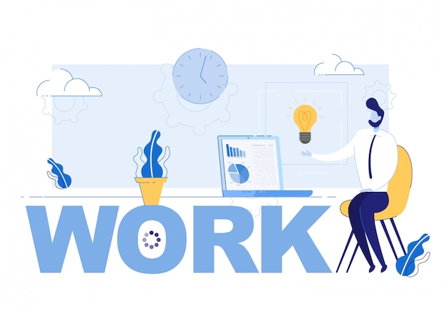 Inscripción de trabajo y empresario inspirado en una idea exitosa
