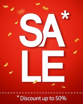 Inscripción de venta, sobre fondo rojo con confeti. cartel de venta, folleto, pancarta. ilustración