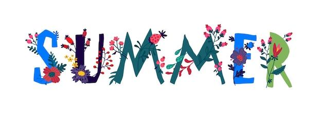 Inscripción verano con plantas y flores.
