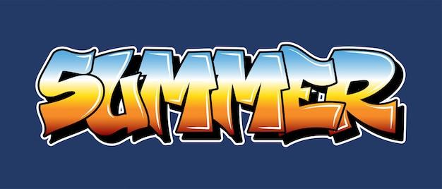 Inscripción de la vieja escuela summer graffiti letras decorativas vandal street art estilo salvaje libre en la ciudad urbana acción ilegal urbana mediante el uso de pintura en aerosol ilustración de hip hop subterráneo