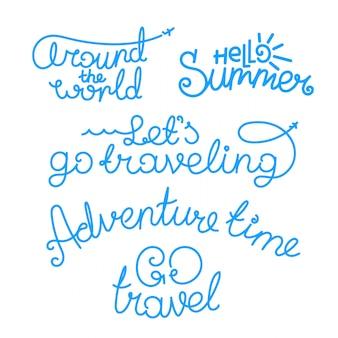 Inscripciones en letras de viaje. logotipos vectoriales aislados sobre fondo blanco