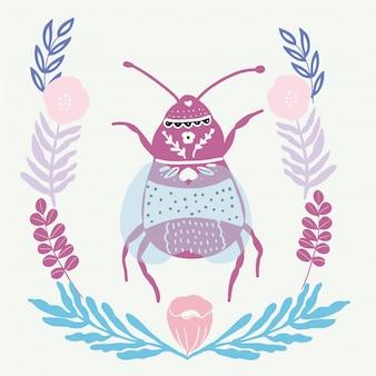 Insecto del arte popular con elementos florales de estilo escandinavo.