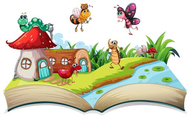 Insecto en libro abierto