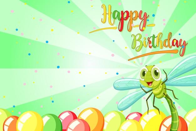 Insecto en la plantilla de cumpleaños