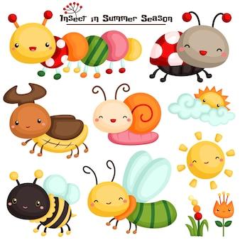 Insecto en la temporada de verano vector set