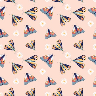 Insectos coloridos de patrones sin fisuras y planta con jardín